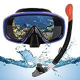 VAVADEN Set Snorkeling, Set per Lo Snorkeling a Secco con Snorkel Pieghevole e Occhiali per Immersioni, Maschera Subacquea Impermeabile Anti-Appannamento Anti-Perdita per Adulti/Bambini (Blu)