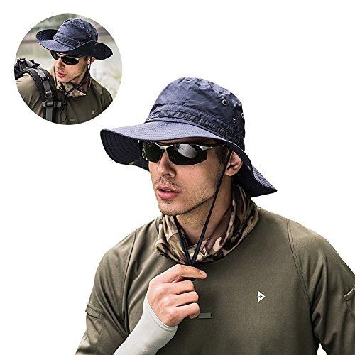 Peicees Mens Sun Hat Sun Protection UPF 50+ Fishing Hat Safari Hat for Women Men Boonie Hat Navy Blue