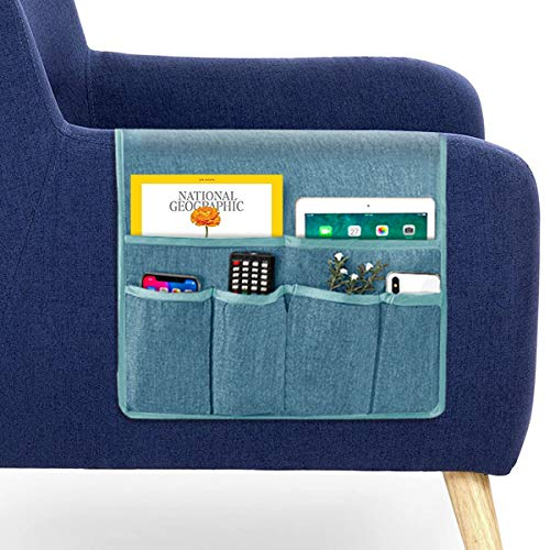"""Guken Sofa Armrest Organizer, Couch Arm Chair Caddy Storage with 6 Pockets for TV Remote Control,Magazine,Smart Phone,Books, iPad (Blue-Gray,19""""X35"""")"""