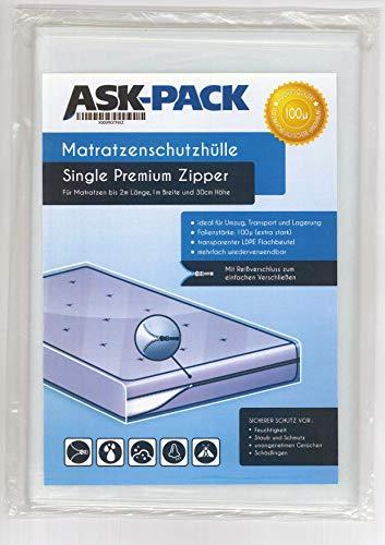 ASK Pack Premium Matratzenschutzhülle Single (3.Generation) mit REIßVERSCHLUSS für bis zu 100cm breite / 30cm hohe / 200cm Lange Matratze - EXTRA stark 100µ