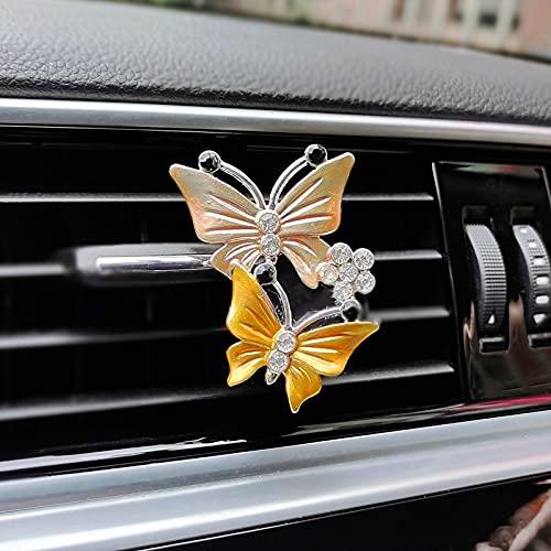 Flystsy Giocattoli in Macchina Diamond Butterfly Car Profumo Air Deodensore Due Farfalle Auto Air Condizionatore Outlet Clip Auto Accessori Auto Ornamento Interno Accessori di Decorazione