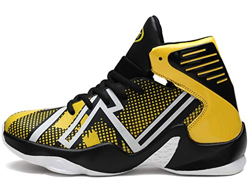 GNEDIAE Herren GNEF9 High-Top Basketball Schuhe Outdoor Anti-Rutsch Sneaker Atmungsaktiv Ausbildung Turnschuhe Sportschuhe Laufeschuhe Verschleißfeste Dämpfung Basketballstiefel Gelb 43 EU