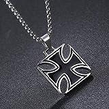 Nattaphol Mens Necklace Stainless Steel Vintage Knights Templar Iron Cross Pendant Necklace Women Biker Maltese Cross Jewelry