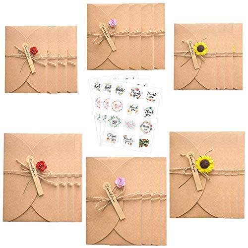 24 Stück Grußkarte Set,Getrocknete Blumen Grußkarten,Retro Kraftpapier Karte mit Umschläge Blanko,Handgefertigte Grußkarten,mit 10 Aufkleber,für Weihnachten,Geburtstag,Valentinstag,Muttertag