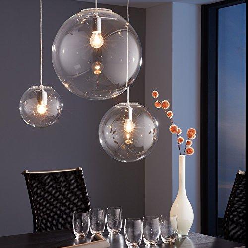 s.LUCE Pendelleuchte Orb Ø 20 cm Klar Pendellampe Glaskugel Glas Hängeleuchte Glas-Hängelelampe elegant und klassisch Mundgeblasen