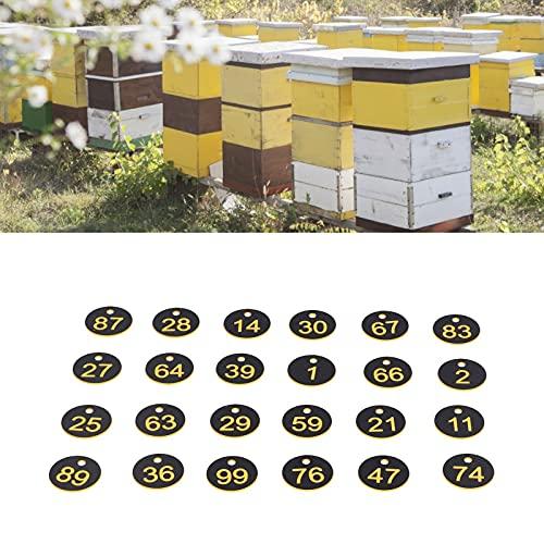 Etiqueta de colmena, etiqueta de colmena duradera, comodidad de larga vida útil con números digitales para la cría de animales para la apicultura(Black yellow)