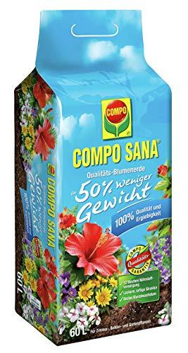 Compo SANA Qualitäts-Blumenerde ca. 50% weniger Gewicht mit 12 Wochen Dünger für alle Zimmer, Balkon- und Gartenpflanzen, Kultursubstrat, 60 Liter, Braun