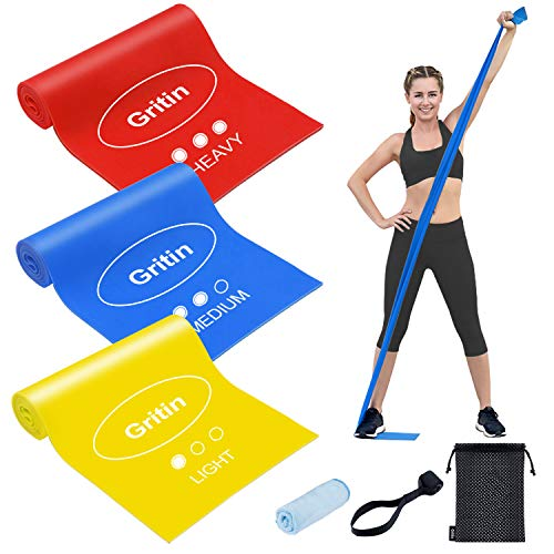 Gritin Resistance Bands, [Set of 3] Skin-Friendly Exercise Bands Natural Rubber Fitness Bands Set with 3 Resistance Levels - Door Buckle, Microfibre Towel & Carrying Bag Included