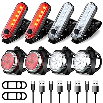 8 Pieces USB Rear and Front Bike Light Set USB Rechargeable LED Bicycle Light Waterproof Headlight and Taillight Safety Bike Light with 4 Light Modes Cycle Flashing Light for City Road Mountain Bike