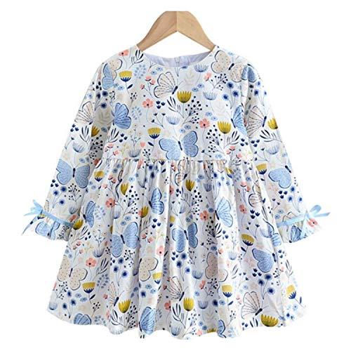 Vestido con diseño de mariposas para bebé, de 24 meses a 7 años, manga larga, cuello redondo, suave y cómodo, marca francesa, color azul