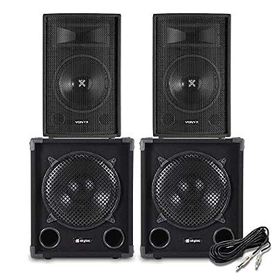 "Skytec 2800W Set 12"" Inch Speakers Bass Subwoofer - DJ Disco Karaoke Party PA"