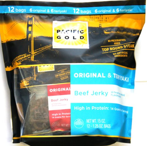 PACIFIC GOLD ALL NATURAL 97% FAT FREE BEEF JERKY VARIETY PACK (12 - 1.25 OZ Bags, NET WT 15 OZ) CRAFTED IN USA