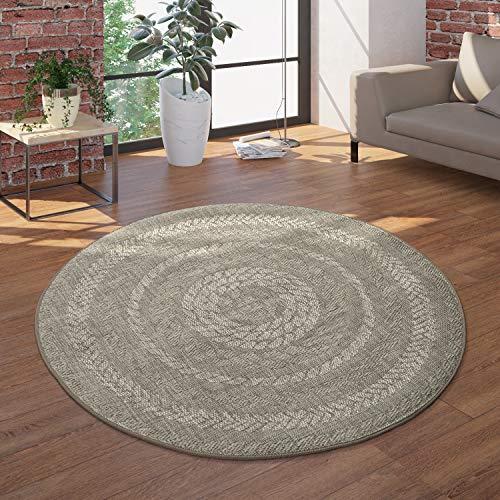 Paco Home Runder In- & Outdoor-Teppich, Flachgewebe Mit Sisal-Look Skandi-Design, In Beige Creme, Grösse:Ø 120 cm Rund