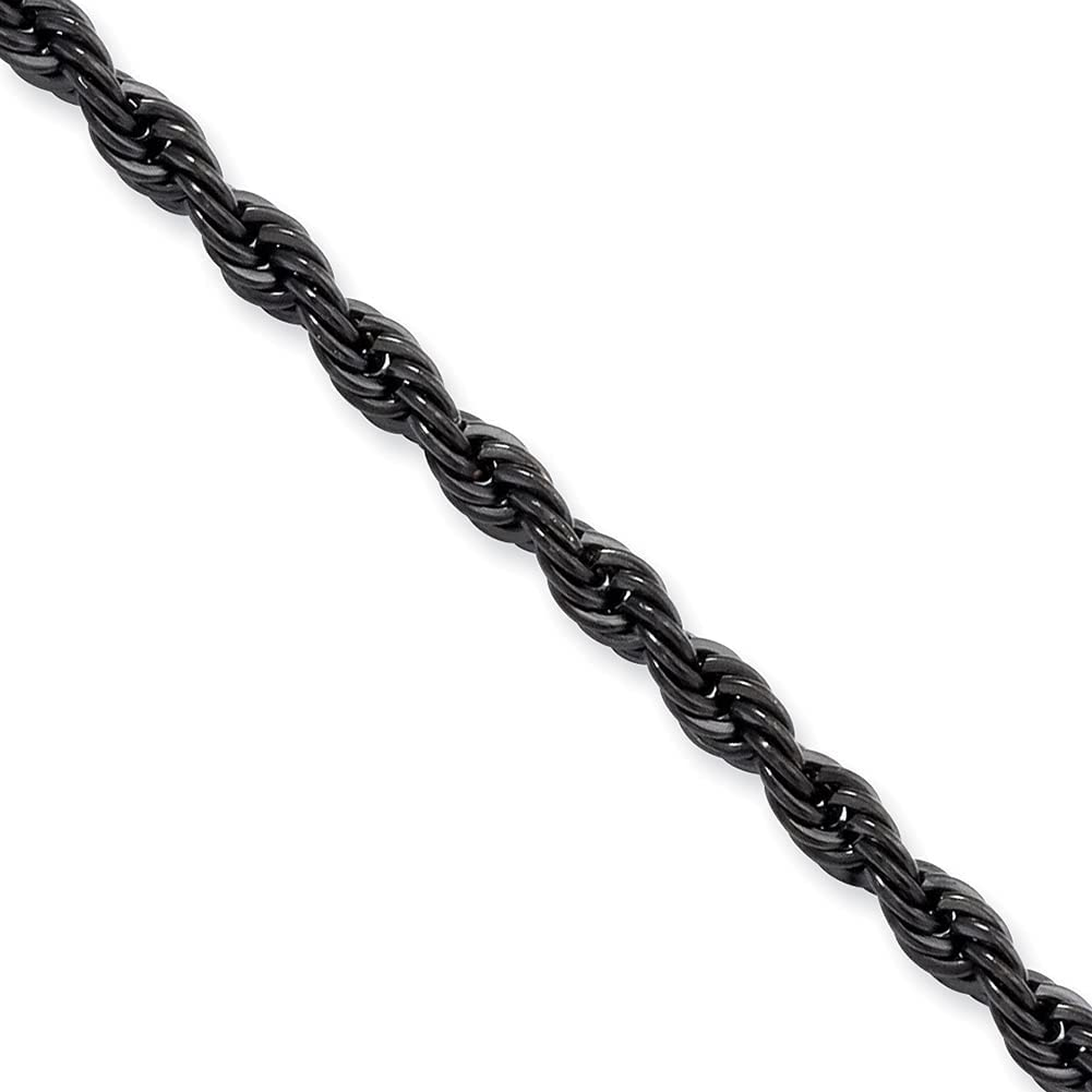 Lex & Lu Chisel Stainless Steel IP Black-Plated 4.0mm Rope Chain Necklace