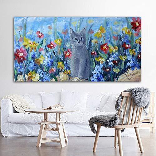 Imágenes de Gatos en Lienzo Carteles e Impresiones de Animales Lindos murales Sala de Estar decoración del hogar Moderno