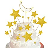 37 Pieces Gold Star Cake Topper Glitter Moon Cupcake Toppers Moon Cake Toppers Moon Cake Decoration with Light String for Party Wedding Valentine's Day Baby Shower Cake Decoration
