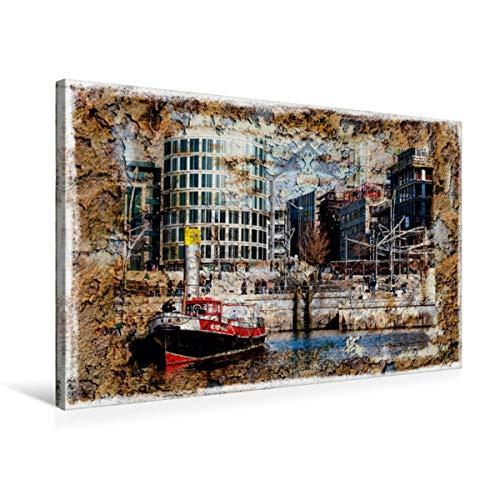 CALVENDO Premium Textil-Leinwand 75 cm x 50 cm quer, EIN Motiv aus dem Kalender Hamburg on The Wall | Wandbild, Bild auf Keilrahmen, Fertigbild auf echter Treppen in der Hafencity Orte Orte