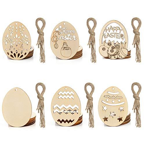 Wodasi 60 Piezas Adornos Colgantes de Pascua, Tarjetas de Huevo de Pascua con Cuerda Colgante Pascua Colgando Decoraciones, Etiquetas de Madera DIY Colgante, Decoraciones de Pascua