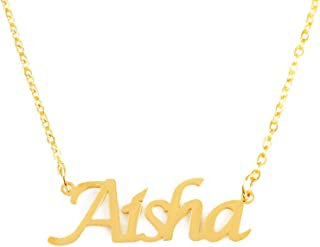 Aisha Personalized Name Necklace 18ct Gold Plated Dainty Necklace - Jewelry Gift Women, Girlfriend, Mother, Sister, Friend