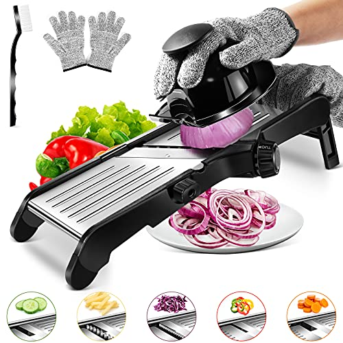 Mandoline Gemüsehobel Edelstahl,Multifunktion Allzweckreibe Gemüsehobelfür Aufschneiden von Lebensmitteln,Obst und Gemüse, Mit 1 Reinigungsbürste und 1 Paar schnittfeste Handschuhe