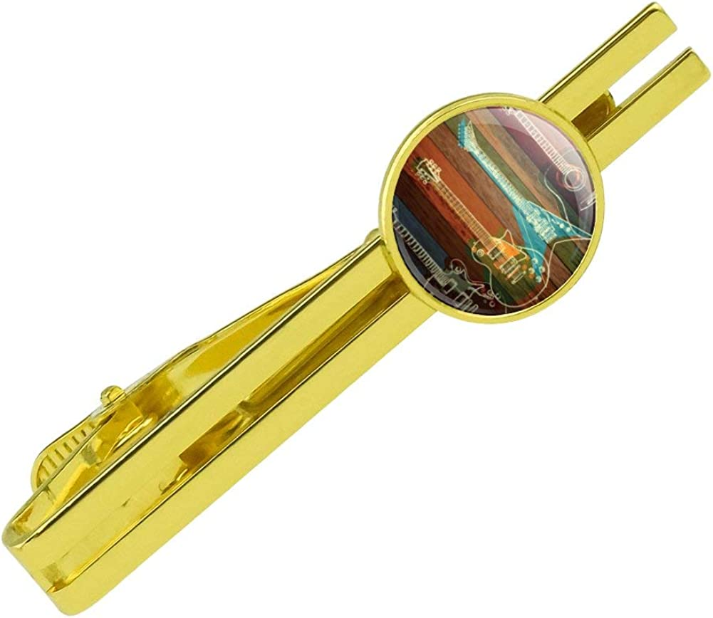 GRAPHICS & MORE Guitars Electric Acoustic Rock and Roll Wood Paneling Round Tie Bar Clip Clasp Tack Gold Color Plated