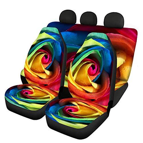 HUGS IDEA Fundas elásticas para asiento delantero de coche de Rainbow Rose, se adapta a la mayoría de coches, maleteros, SUV o furgonetas.
