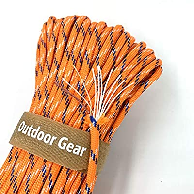 """4-in-1 100ft 550 Paracord 550 Fire Cord Paracord 10 Strand, 5/32"""" Diameter U.S. Military Type III 550 Parachute Cord (MIL-C-5040H) with Integrated Fishing Line, Fire-Starter Tinder(Camo Orange,100)"""