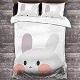 Juego de cama de 3 piezas de 218 x 177 cm, cómodo juego de sábanas de conejo, tamaño completo con 2 fundas de almohada brillantes para dormitorio de adultos