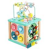 Oqqo Montessori para niño de madera 6 en 1 multiusos de la actividad cubo centro juguetes educativos bolas laberinto aprendizaje temprano juguete para niños regalos