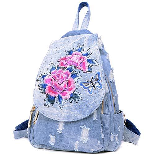 JBAG-one Mochila para Mujer, Bolso de Lona Bordado de Mezclilla Vintage para niñas, Mochila étnica, Mochila...