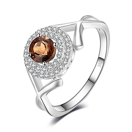 JewelryPalace Luxus X Markiert 0.65ct Echten Rauchigen Quarz Halo Ring 925 Sterling Silber