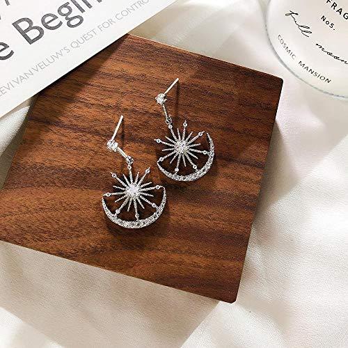 weichuang Pendientes colgantes de cristal geométricos para mujer, con diseño de luna solar, para mujer, aretes bohemios, aretes populares coreanos (color de metal: plata)
