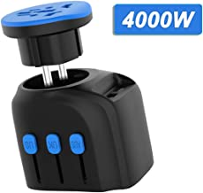 4000W European High Power Universal Travel Adapter with 2 USB Ports+AC outlet, International Travel Plug Adapter for Hair Dryer Curling Iron, High Power Appliances, for EU UK AUS US Over 190 Countries