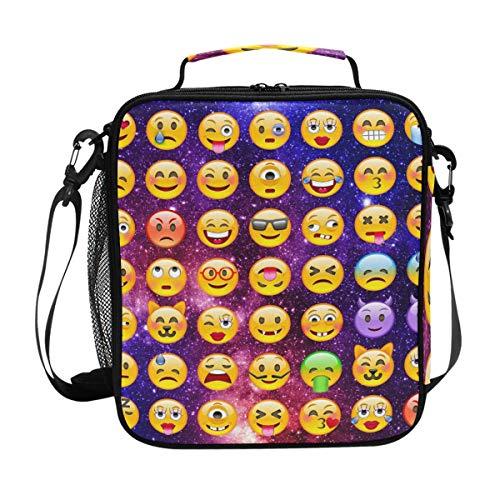 Galaxy Emoji bolsa de almuerzo aislada para mujeres, hombres, azul rojo NebularLunch bolsa de hombro organizador de alimentos para niños, escuela, picnic, playa, oficina, trabajo
