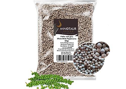 Minotaur Spices   Pfeffer weiß ganz, Pfefferkörner weiß, 2 x 500g (1 Kg)