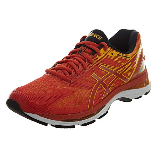 ASICS Mens Gel-Nimbus 19 Running Shoe, Red Clay/Gold Fusion/Phantom, 10 D(M) US