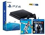 PS4 Slim 1Tb Playstation 4 Nera + FIFA 19 + Uncharted 4