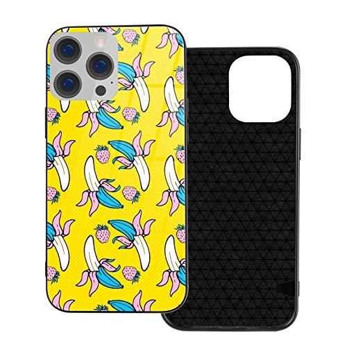 Funda para teléfono Strawberry Banana Funda para teléfono para iPhone 12/12 Mini / 12 Pro / 12 Pro MAX Carcasa Trasera de Vidrio Templado + TPU para iPhone 12 Pro-6.1 Pulgadas