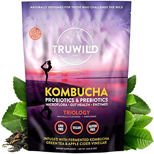 TRUWILD Natural Kombucha Powder Probiotic Supplement, Immune Support & Gut Health, On-The-Go Powder (Mix with Water and Drink) -- 20 Servings - Vegan, Non-GMO, Gluten-Free