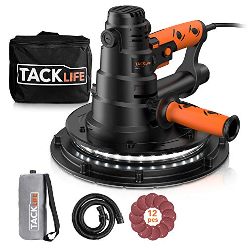 TACKLIFE Handheld Drywall Sander, Automatic Vacuum System & LED Light, 12 Pcs Sanding Discs and a Carry Bag, 6.7A Electric Drywall Sander with Dust Collection System, 15ft Cable Variable Speed PDS03B