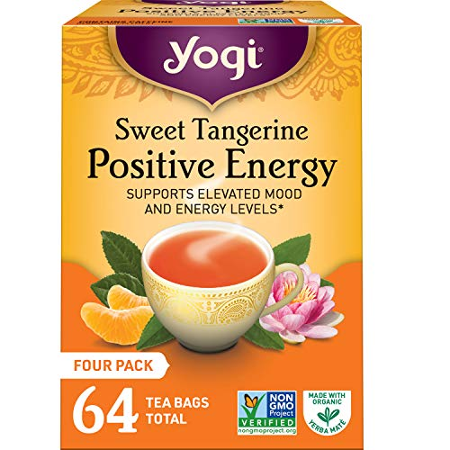 Yogi Tea - Sweet Tangerine Positive Energy - Supports Elevated Mood and Energy Levels - 4 Pack, 64 Tea Bags Total