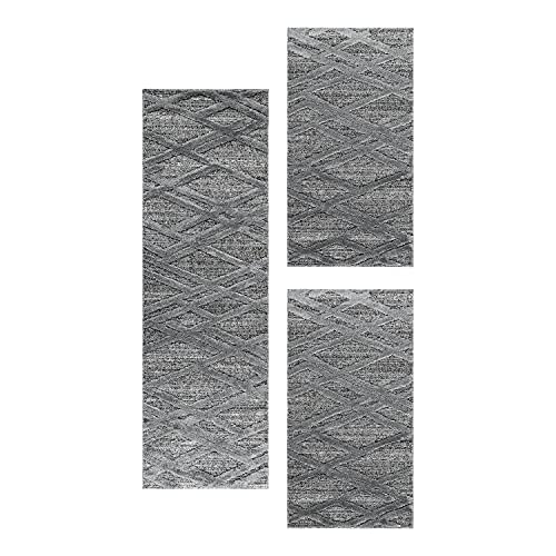 SIMPEX Set de Corredores Alfombra Set Alfombra Pelo Corto Patrón de Linea 3 Partes, Color:Gris, Bettset:2x60x110+1x80x150