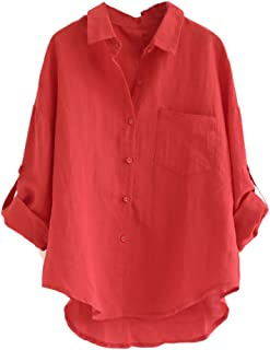 Minibee Women's Linen Blouse High Low Shirt Roll-Up Sleeve Tops