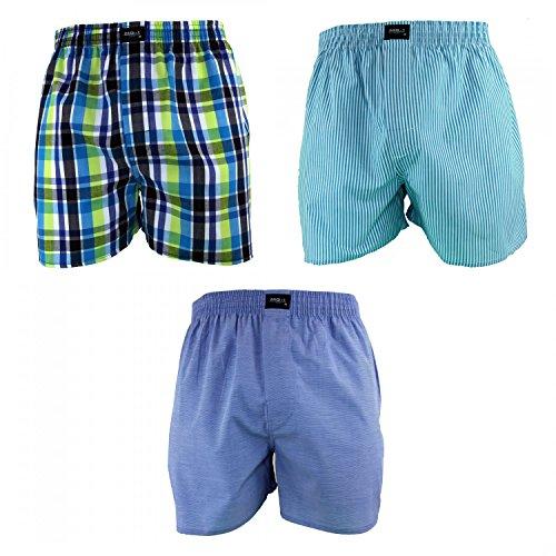 MG-1 3 Stück Herren Webboxer Boxershorts Shorts Boxer viele Farben zur Auswahl, Grösse:XL - 7-54;Präzise Farbe:Design 2