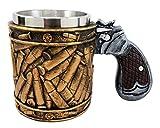 Atlantic Collectibles Western Revolver Gun Pistol With Ammo Bullet Round Shells Beer Stein Tankard Coffee Cup Mug 6.75'L