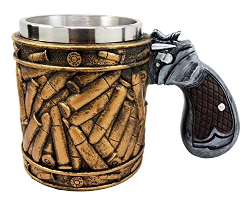 Atlantic Collectibles Western Revolver Gun Pistol With Ammo Bullet Round Shells Beer Stein Tankard Coffee Cup Mug 6.75'L