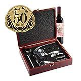 AMAVEL Sommelier Set mit 10 Wein-Accessoires, Geschenkbox aus Holz mit Plakette und Gravur zum 50. Geburtstag, Geschenkidee für Weinliebhaber