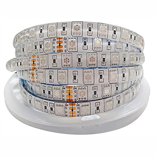 Tesfish Tiras LED RGB 24V, 5M Tira de Luces LED 5050 IP65 Impermeable 300 LEDs Tira de LED que cambia de Color Tiras de Luz LED para Dormitorio, Decoración de Cocina