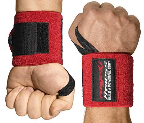 Handgelenkbandagen [2er Set] Starker Halt, 45cm Länge, (+ Trainingspläne) - Handgelenk Bandagen für Fitness, Krafttraining, Bodybuilding, Crossfit & Calisthenics - Wrist Wraps für Frauen und Männer