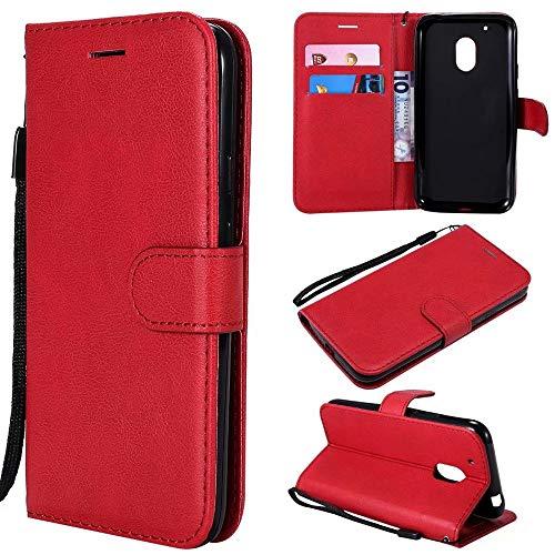 Yhuisen Solido Colore Premium qualità PU Custodia in Pelle Flip Wallet Stand con Cinturino da Polso per Motorola Moto G4 Play (Colore : Rosso)